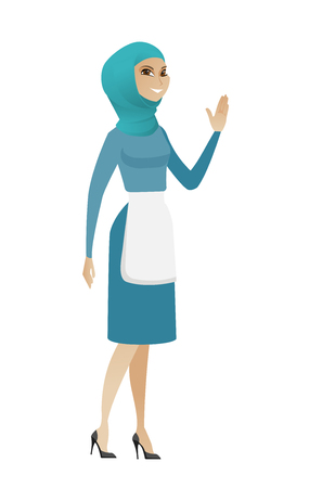 Muslim cleaner waving her hand. Full length of young smiling cleaner waving her hand. Cleaner making a greeting gesture - waving hand. Vector flat design illustration isolated on white background.