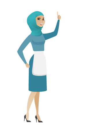 Young muslim cleaner pointing with her forefinger.