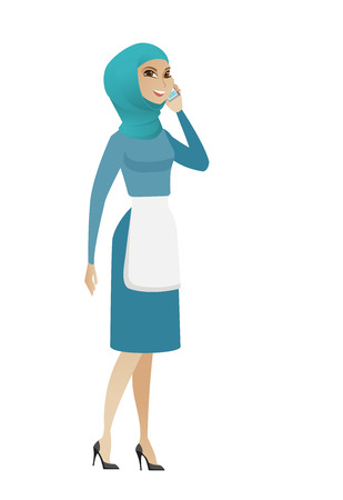 woman cellphone: Muslim cleaner in uniform talking on a mobile phone. Cleaner talking on a cell phone. Young cleaner talking on a mobile phone. Vector flat design illustration isolated on white background.