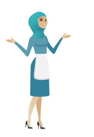 Confused muslim cleaner with spread arms. Full length of confused cleaner in uniform. Young confused cleaner shrugging shoulders. Vector flat design illustration isolated on white background.