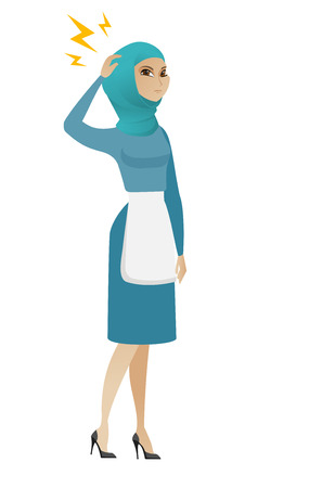 Muslim cleaner with lightning over her head. Full length of young furious cleaner in uniform standing under lightning. Vector flat design illustration isolated on white background