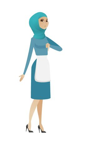 bad service: Disappointed muslim cleaner with thumb down. Full length of young female cleaner in uniform showing thumb down. Cleaner with thumb down. Vector flat design illustration isolated on white background.