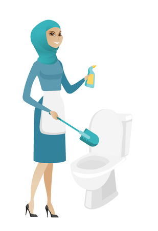 Muslim cleaner in uniform cleaning toilet bowl with brush and detergent. Full length of young cleaner cleaning toilet seat using brush. Vector flat design illustration isolated on white background. Illustration