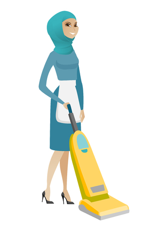 Muslim hotel female chambermaid in uniform cleaning floor with a vacuum cleaner. Full length of young chambermaid with a vacuum cleaner. Vector flat design illustration isolated on white background. Ilustração