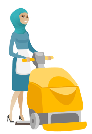 Muslim worker cleaning store floor with machine. Young cleaner using cleaning machine to clean floor in the supermarket. Cleaning service. Vector flat design illustration isolated on white background. Illustration
