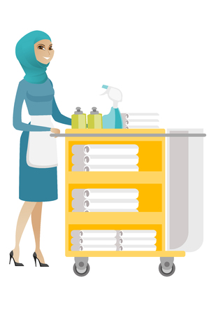 Muslim female chambermaid pushing cart with bed clothes. Full length of young chambermaid with trolley with linen. Hotel room service. Vector flat design illustration isolated on white background. Illustration