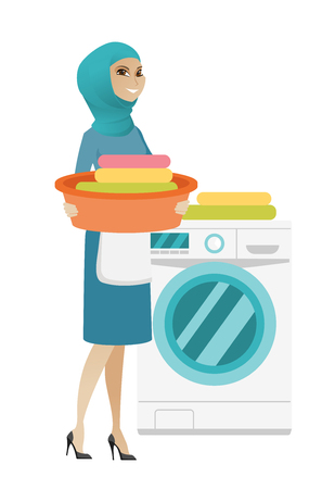 Muslim housewife using washing machine at home laundry. Full length of young happy housewife loading laundry washing machine with clothes. Vector flat design illustration isolated on white background. Illustration
