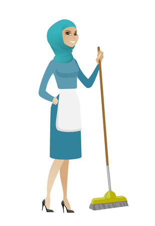 Muslim housemaid in uniform doing housework with a broom. Young housemaid sweeping floor with a broom. Housemaid holding broom in hand. Vector flat design illustration isolated on white background.