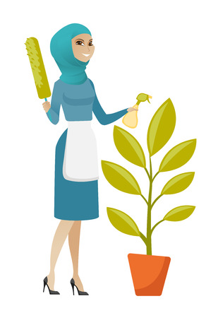 Muslim housemaid in uniform watering the flower with spray. Young housemaid standing near the flower. Home cleaning service concept. Vector flat design illustration isolated on white background. Çizim