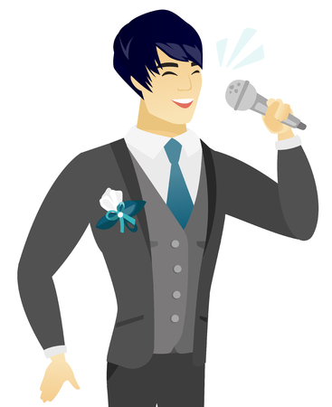 Asian groom in a wedding suit singing to the microphone. Young groom singing with closed eyes. Happy groom singing to the mic. Vector flat design illustration isolated on white background. Illustration