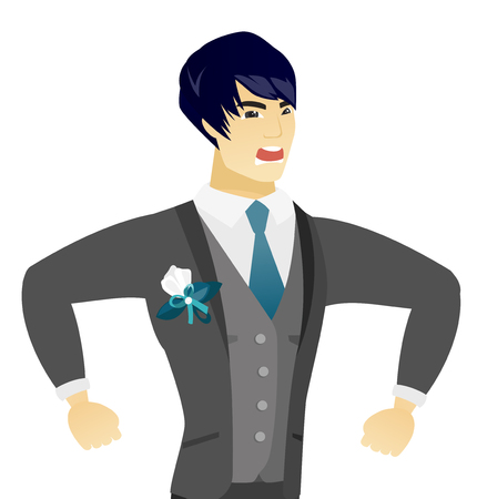 Asian angry groom screaming. Young angry groom clenching fists. Angry groom in a wedding suit shouting with raised fists. Vector flat design illustration isolated on white background.
