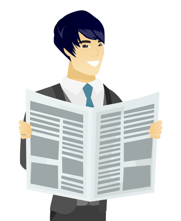 good news: Asian groom reading a newspaper. Groom standing with a newspaper in hands. Young groom reading good news in a newspaper. Vector flat design illustration isolated on white background.