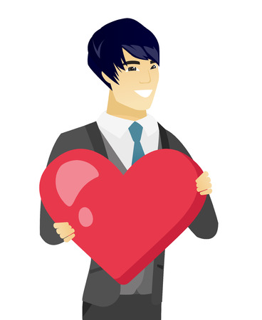 Asian groom in a wedding suit showing a big red heart. Young groom with heart shape. Happy groom holding a red heart. Vector flat design illustration isolated on white background.