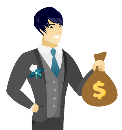 Asian groom showing a money bag with a dollar sign. Young happy groom holding a money bag. Vector flat design illustration isolated on white background.