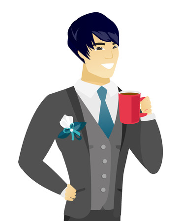 Asian smiling groom holding a cup of coffee. Young groom in a wedding suit drinking coffee. Happy groom with a cup of coffee. Vector flat design illustration isolated on white background.
