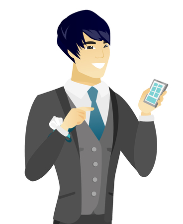 Happy asian groom holding a mobile phone. Young groom pointing at a mobile phone. Groom using a mobile phone. Vector flat design illustration isolated on white background.
