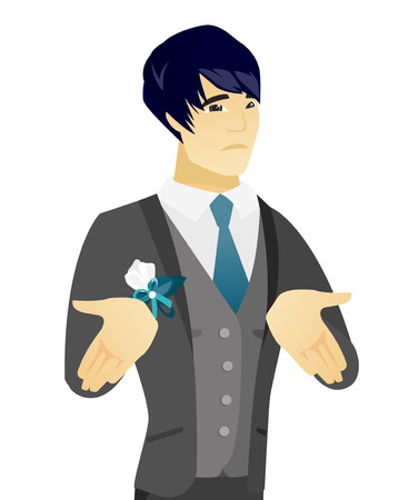 Confused asian groom shrugging his shoulders. Young doubtful groom gesturing hands and shrugging his shoulders. Vector flat design illustration isolated on white background. Illustration