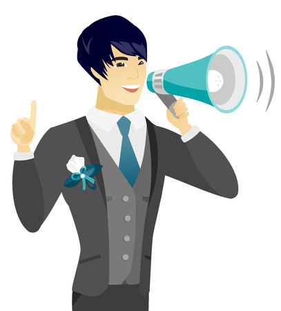 Asian groom with a megaphone making an announcement. Groom making an announcement through a megaphone. Concept of announcement. Vector flat design illustration isolated on white background. Иллюстрация