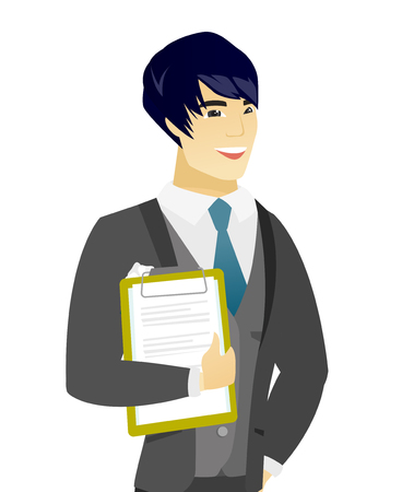 Asian groom holding a clipboard with documents. Young groom in a wedding suit holding documents. Vector flat design illustration isolated on white background.