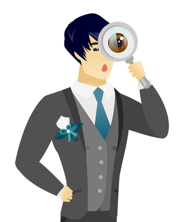 Shoked asian groom with magnifying glass. Young groom in a wedding suit looking through a magnifying glass. Vector flat design illustration isolated on white background.