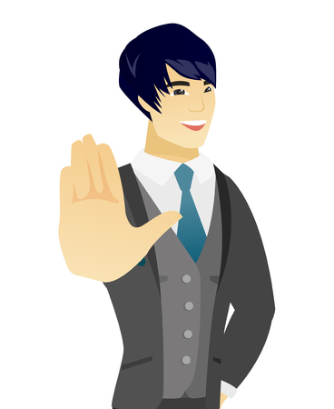 Asian groom in a wedding suit showing palm hand. Young groom making stop gesture by his palm. Vector flat design illustration isolated on white background. Иллюстрация