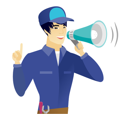 Young asian mechanic with a megaphone making an announcement. Mechanic making an announcement through a megaphone and pointing finger up. Vector flat design illustration isolated on white background.