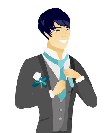 and has: Cheerful asian groom has a final preparation before the wedding. Younghappy groom adjusting necktie. Vector flat design illustration isolated on white background.