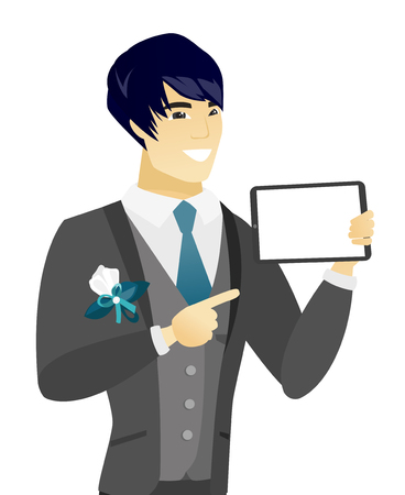 Young asian groom holding a tablet computer. Smiling groom pointing at a tablet computer. Happy groom with a tablet computer. Vector flat design illustration isolated on white background. Иллюстрация