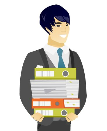 Asian groom in a wedding suit holding pile of folders and papers. Young smiling groom with folders and files. Vetor flat design illustration isolated on white background. Иллюстрация