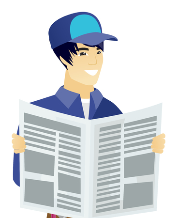 good news: Asian mechanic reading newspaper. Happy mechanic standing with newspaper in hands. Young mechanic reading good news in newspaper. Vector flat design illustration isolated on white background.