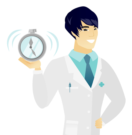 white coat: Asian smiling doctor in medical gown showing ringing alarm clock. Young happy doctor holding alarm clock. Vector flat design illustration isolated on white background.