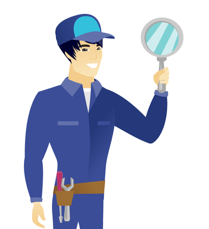 Young asian mechanic holding hand mirror. Smiling mechanic looking at himself in a hand mirror. Vector flat design illustration isolated on white background.