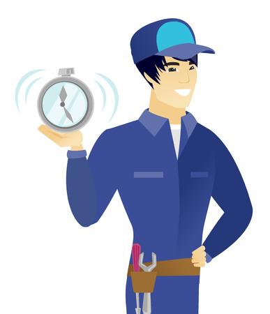 若いアジアのメカニックの表示は目覚まし時計が鳴っています。幸せなメカニックが目覚まし時計を保持しています。ベクトル フラットなデザイン   イラスト・ベクター素材