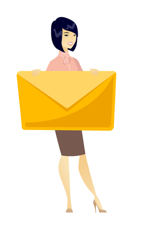 Smiling business woman holding a big envelope.