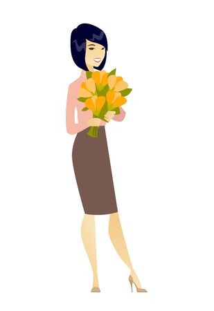 Asian business woman holding bouquet of flowers. Illustration