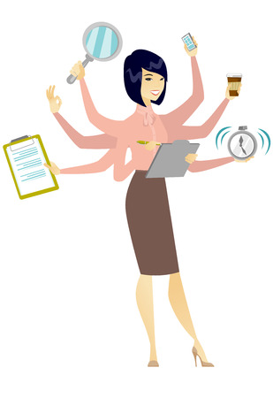 Bedrijfsvrouw die aan multitasking het hoofd biedt.