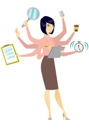 Business-Frau Bewältigung Multitasking.