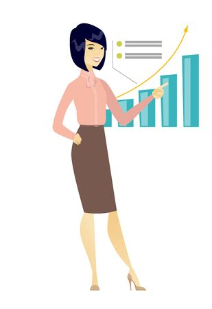 Successful business woman pointing at chart. Illustration