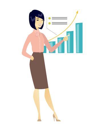 Successful business woman pointing at chart. Illusztráció