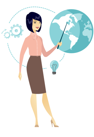 Asian business woman pointing at a globe. Illustration