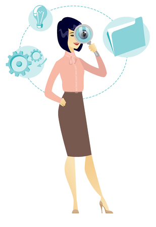Asian business woman with magnifying glass. Illusztráció