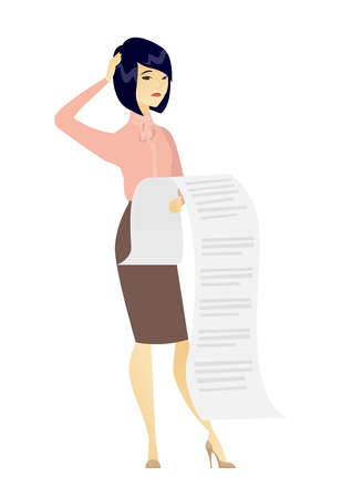 asian business: Business woman holding long bill. Illustration