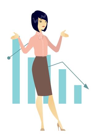 Bancrupt business woman vector illustration. Illustration