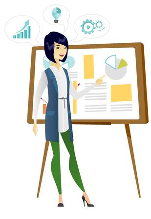 Business woman giving business presentation. Illustration