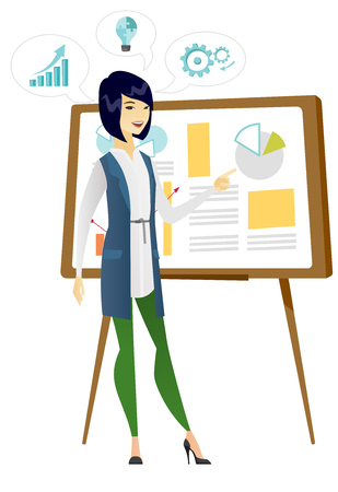 asian business: Business woman giving business presentation. Illustration