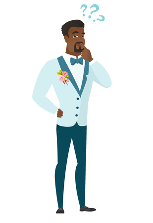 black man thinking: Thinking groom with question marks. Thoughtful groom with question marks. African-american groom looking at question marks above his head. Vector flat design illustration isolated on white background.