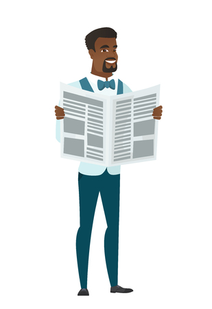 African-american groom reading a newspaper. Happy groom standing with a newspaper in hands. Young groom reading good news in a newspaper. Vector flat design illustration isolated on white background. Illustration