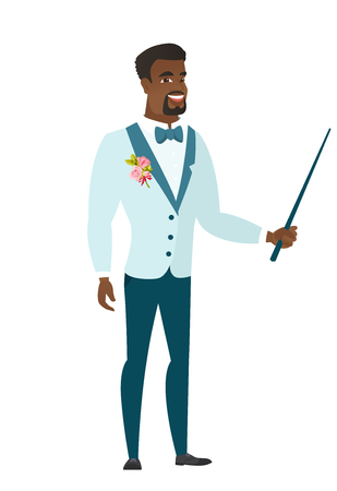 African-american groom in a wedding suit holding pointer stick. Full length of groom with pointer stick. Groom pointing with pointer stick. Vector flat design illustration isolated on white background Vector Illustration