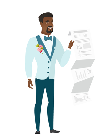 African-american bridegroom in a wedding suit showing a document with presentation. Full length of young bridegroom giving a presentation. Vector flat design illustration isolated on white background Çizim