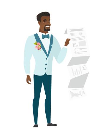 Afrikaans-Amerikaanse bruidegom in een huwelijkskostuum die een document met presentatie tonen. Volledige lengte van jonge bruidegom die een presentatie geeft. Vector platte ontwerp illustratie op een witte achtergrond